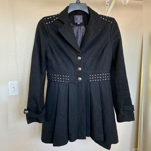 Single-Breasted Skirted Wool Pea Coat peacoat
